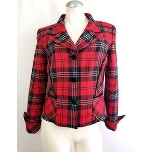 Pendleton Size 8 Red Plaid Blazer Wool